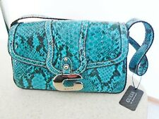 NWT Guess by Marciano Handbag Purse Clutch Turquoise Faux Snakeskin