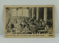 Vintage Cardboard AD Photo Developing Women in Factory
