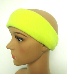 HEADBAND NEON Hi Viz YELLOW PPE Adults Fleece Head Warmer Ear Muff Hat Unisex UK
