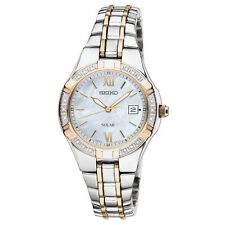 Seiko SUT068 Ladies Solar Date Diamond Accent Mother of Pearl Two Tone Watch