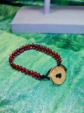 Boho Style Rainbow Red Glass Bead Braided Bracelet w/ Locket . Handcrafted Sales