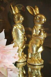 Clayre & Eef Easter Bunny Rabbit Pair Rabbit Gold 2-er Set 22cm New