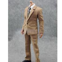 """1/6 White Shirt Khaki Suit Pants Clothes Set For 12"""" Hot Toys Action Figure"""