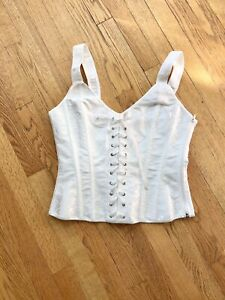 White Corset bone in Lace Up And Zip Size Xl