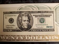 1996 USA $20 TWENTY DOLLAR (LOW NUMBERED) BOSTON FEDERAL RESERVE NOTE BEP UNC