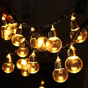 Bulb Shape 6M 20LED String Fairy Light Warm White Christmas Party Garden Wedding
