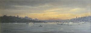 Adolf Bock (1890-1968) - Nachtansicht von Istanbul und Bosporus - Top!