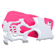 iPhone 5 5S SE Skull Hybrid Rubber Silicone Skin Case Phone Cover White Hot Pink