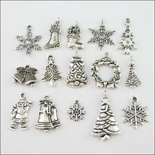 30Pc Mixed Antiqued Silver Tone Christmas Charms Pendants Jewelry Craft DIY F169