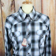 Roper Men's 2XL Western Pearl Snap Shirt NWT Blue Black NEW XXL