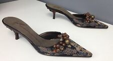 GIUSEPPE ZANOTTI DESIGN NWOB Brown Floral Brocade Satin Bauble Kitten Mule Sz 37