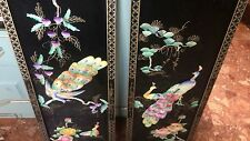 Pair Fine Oriental Lacquered Wall Hanging Hand Painted Peacock & Flower Panels