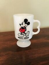 Vintage Mickey Mouse Milk Glass Mug Walt Disney Pedestal Cup
