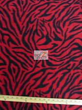 "ZEBRA PRINT POLAR FLEECE FABRIC - Red - 60"" WIDE SOLD BY THE YARD ANTI PILL 7"