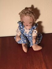 """VINTAGE 10"""" HAND MADE RAG DOLL OIL CLOTH BUTTON JOINT BODY EMBROIDERED FACE"""