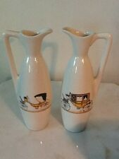 Pair Dockrell Tall Pitcher/Vase With Antique Carriage Design #199