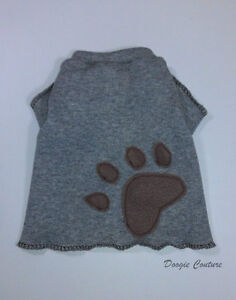 Handsome Grey Paw Male Dog T-Shirt Clothes Size XXXS-Large