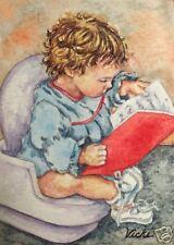 Little Girl Child Potty  O/E Print  ACEO  by  Vicki