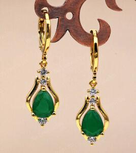 EMERALD & DIAMOND 18K GOLD EARRINGS DROP DANGLE AAA. ART NOUVEAU STYLE