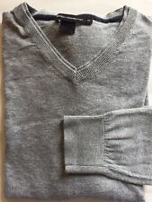 French Connection V-Neck Men Sweater Cotton M Long Sleeve Gray