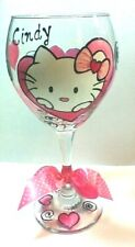 Hello Kitty Hand Painted Wine Glass With FREE Personalization upon Request