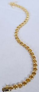 Beautiful Simulated Citrine And 18k Gold Plated Bracelet