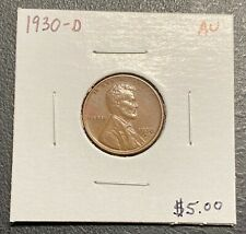 1930-D U.S. LINCOLN WHEAT PENNY CENT ~ AU CONDITION! $2.95 MAX SHIPPING! C3185
