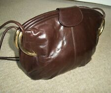 EXQUISITE VINTAGE RODO (Italy) CHOCOLATE BROWN LEATHER SHOULDER BAG/WEDDING