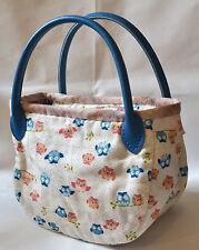 Qteen Handmade Cute Blue Hoot Owl Owly Slouch Bag Hobo Purse Women Handbag Gift