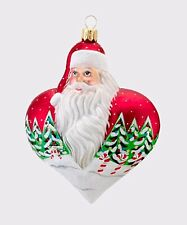 "4.5""H Heart Of Christmas Snowfall Santa Ornament David Strand Designs Adler MIB"