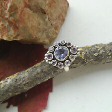 Amethyst lila violett modern edel Design Ring, Ø 19,0 mm 925 Sterling Silber neu