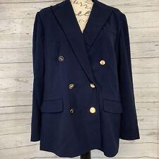 New $295 Lauren Ralph Lauren Double breasted blazer jacket in Navy wool size 16