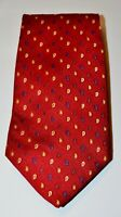 JOS. A. BANK Red with Blue Gold Paisley 100% Silk Neck Tie Made in USA Handsewn