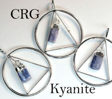 Silver Plated Triangle In Ring w/ KYANITE Point Dangle Pendant (TR6BT)