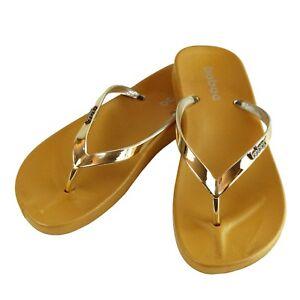 Women's Summer Metallic Strap Casual Thongs Flat Flip Flops Sandals Slipper