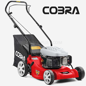 "Cobra 41cm 16"" Petrol Push Lawnmower Lightweight Polymer Deck Lawn Mower M41C"