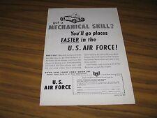 "1956 Print Ad US Air Force Recruiting ""Got a Mechanical Skill?"""