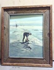Vintage Framed Oil Painting Fisherman Clam Digger by Sea Signed Evelyn Pezzano