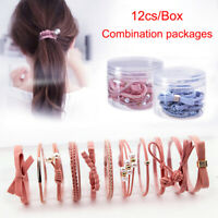 12Pcs/Set Elastic Rope Ring Hairband Girls Women Hair Band Tie Ponytail Holder .