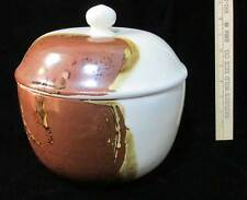 Bean Pot w/ Lid Bowl Abstract Brown Glaze Hand Crafted Pottery Ceramic Class Art