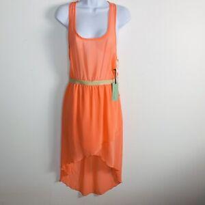 Forever 21Women Sleeveless Dress Sz S Orange Hi Low Hem Sheer Maxi Long New AR48