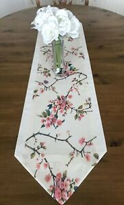 Table Runner Cherry Blossom Floral PINK & IVORY Lined 110cm CHRISTMAS GIFT
