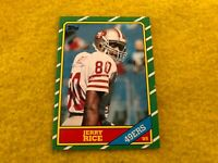 JERRY RICE , SAN FRANCISCO 49ERS , 1986 TOPPS NFL ROOKIE CARD #161 RC , AMAZING