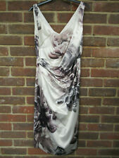 Coast Cream/Brown Floral Patterned Sleeveless Silk Style Dress Size:14 902
