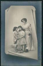 Mother Child Boy Girl Sheep Lamb Easter Egg original old 1910s photo postcard