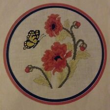 Poppies and Butterfly counted cross stitch magazine pattern, fabric & floss lot