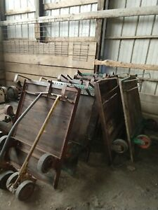 20 Vintage Industrial Factory Carts with 2 Wheeled Pulling Dolly
