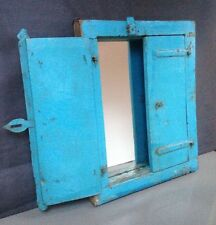 ANTIQUE/VINTAGE INDIAN SHUTTERED WINDOW MIRROR.ARCHITECTURAL SALVAGE. TURQUOISE.