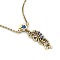 Blue Sapphire 0.35 Ct Gemstone Pendant Solid Real 14K Yellow Gold Round Cut