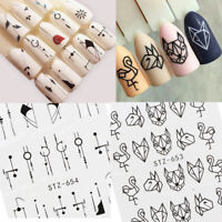 4 Sheets Black Flowers Geometric Nail Decals Water Transfer Nail Art Stickers